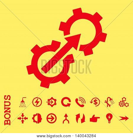 Gear Integration vector icon. Image style is a flat pictogram symbol, red color, yellow background.