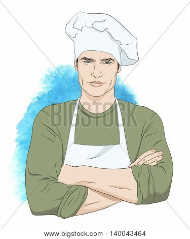 Cheerful Handsome Man Chef Vector