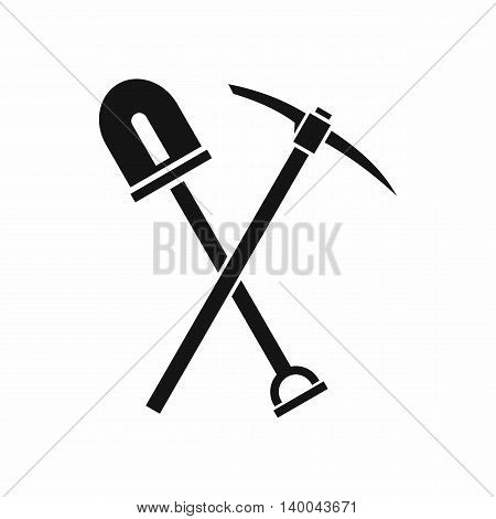 Shovel and pickaxe icon in simple style isolated on white background. Tool symbol