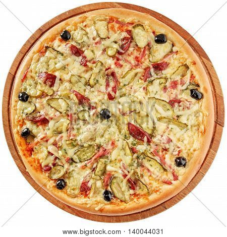 Rustic pizza with ham, sausages, pickles, olives and mozzarella