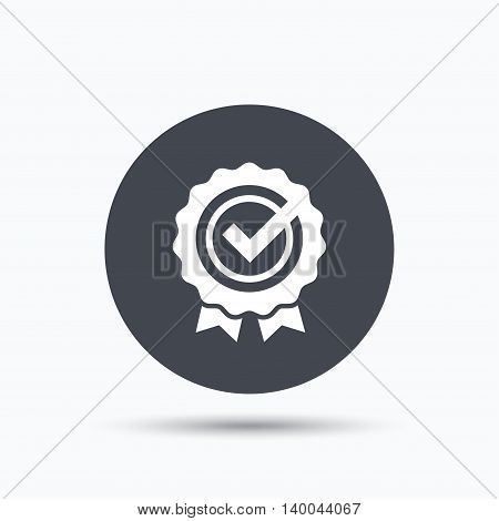 Award medal icon. Winner emblem with tick symbol. Flat web button with icon on white background. Gray round pressbutton with shadow. Vector