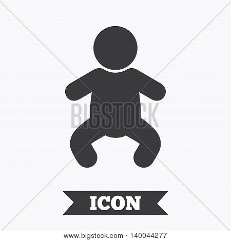 Baby infant sign icon. Toddler boy in pajamas or crawlers body symbol. Child WC toilet. Graphic design element. Flat baby infant symbol on white background. Vector
