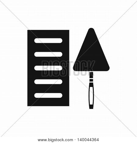 Brick and trowel icon in simple style isolated on white background. Tool symbol
