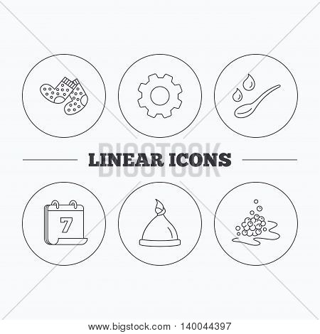 Baby clothes, bath and hat icons. Socks, spoon with drops and bubbles linear signs. Flat cogwheel and calendar symbols. Linear icons in circle buttons. Vector