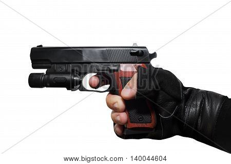 Isolated first person view hand holding a handgun on white background profile view.