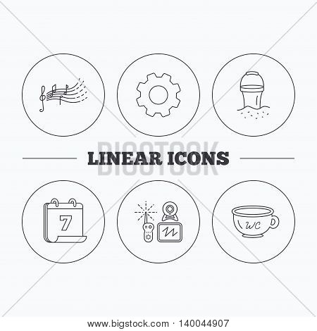 Baby wc, video monitoring and songs for kids icons. Beach bucket linear sign. Flat cogwheel and calendar symbols. Linear icons in circle buttons. Vector