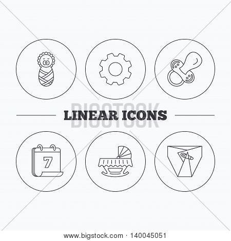 Pacifier, newborn and diapers icons. Cradle bed linear sign. Flat cogwheel and calendar symbols. Linear icons in circle buttons. Vector
