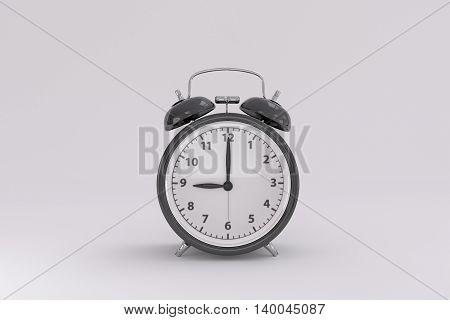 3D rendering of a black alarm clock on a white background