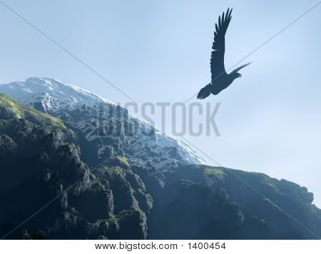 Silhouette Of An Eagle Soaring Above Mountains