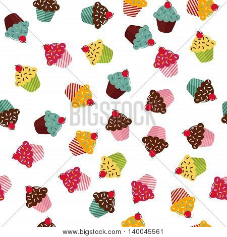 Seamless texture with different cupcakes on white background. EPS10