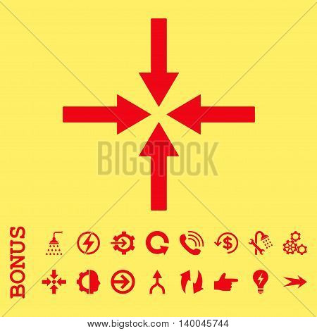 Impact Arrows vector icon. Image style is a flat iconic symbol, red color, yellow background.