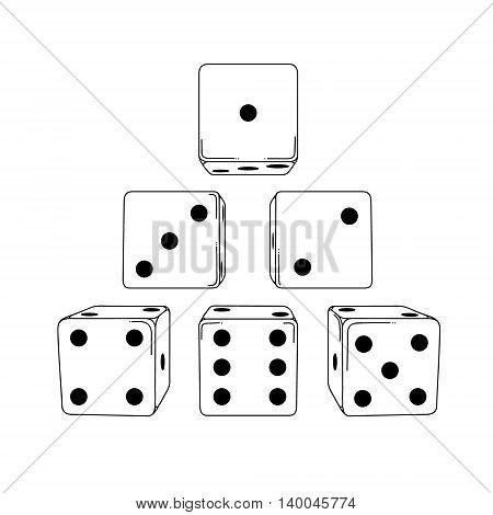 Six white cartoon-style dice cubes on white background