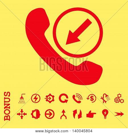 Incoming Call vector icon. Image style is a flat pictogram symbol, red color, yellow background.