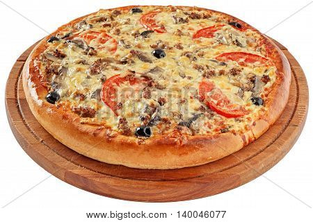 Pizza with minced meat, tomatoes, mushrooms, olives and mozzarella