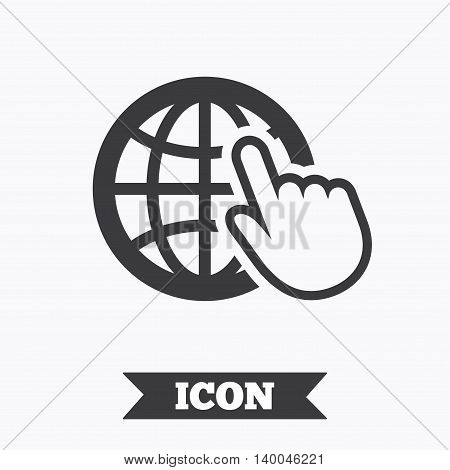 Internet sign icon. World wide web symbol. Cursor pointer. Graphic design element. Flat internet symbol on white background. Vector