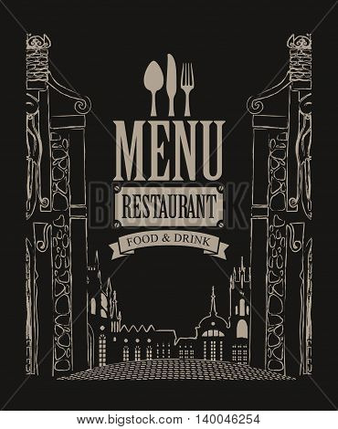 cover menu for cafe or restaurant with drawing house in old town