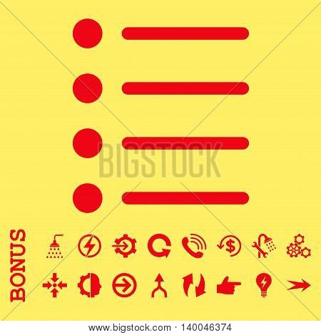 Items vector icon. Image style is a flat pictogram symbol, red color, yellow background.