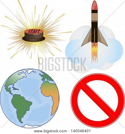 Set missile isolated on white background, button start, globe, world, war. Vector illustration