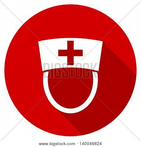 nurse red vector icon, circle flat design internet button, web and mobile app illustration