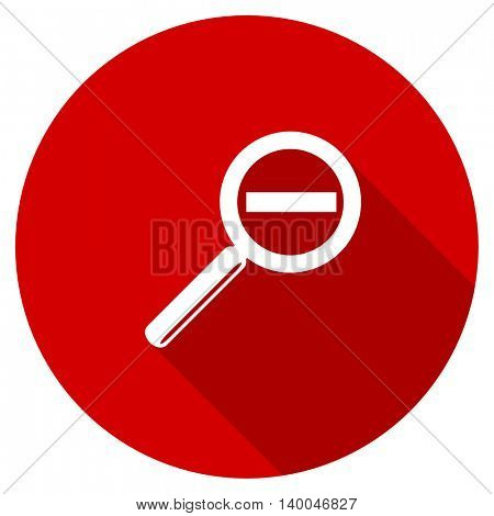 lens red vector icon, circle flat design internet button, web and mobile app illustration