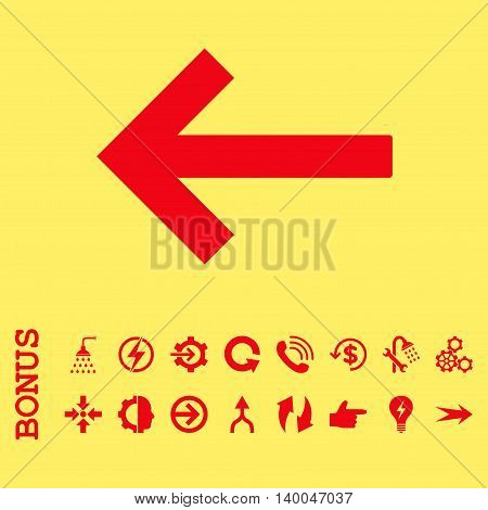 Left Arrow vector icon. Image style is a flat iconic symbol, red color, yellow background.