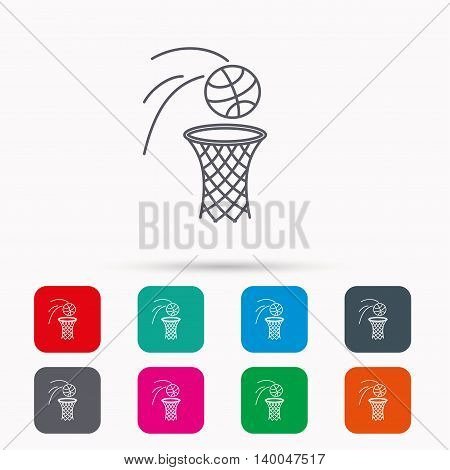 Basketball icon. Basket with ball sign. Professional sport equipment symbol. Linear icons in squares on white background. Flat web symbols. Vector
