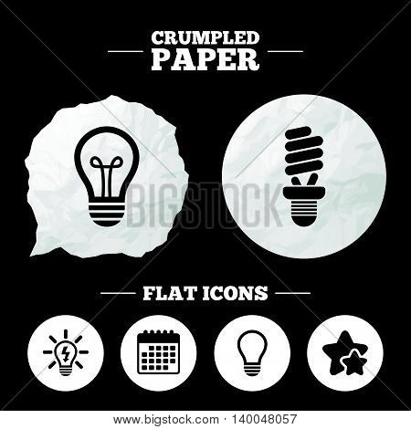 Crumpled paper speech bubble. Light lamp icons. Fluorescent lamp bulb symbols. Energy saving. Idea and success sign. Paper button. Vector