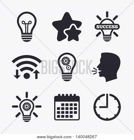 Light lamp icons. Lamp bulb with cogwheel gear symbols. Idea and success sign. Wifi internet, favorite stars, calendar and clock. Talking head. Vector