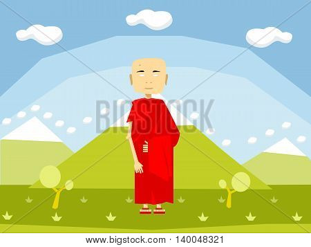 Calm buddhist monk in red on the nature