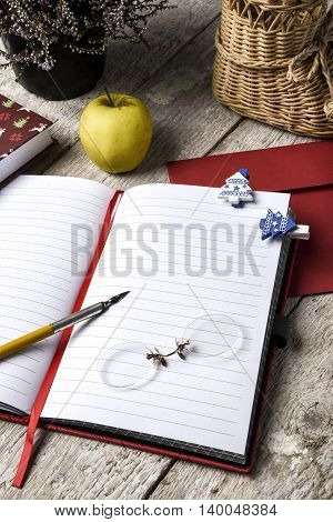 Notes In A Notebook, Book, Envelope, Pen