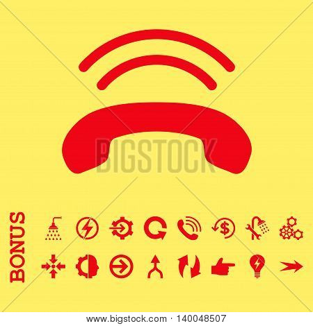 Phone Ring vector icon. Image style is a flat iconic symbol, red color, yellow background.