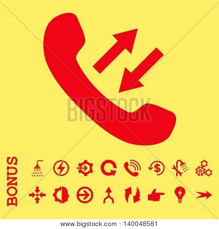 Phone Talking vector icon. Image style is a flat iconic symbol, red color, yellow background.