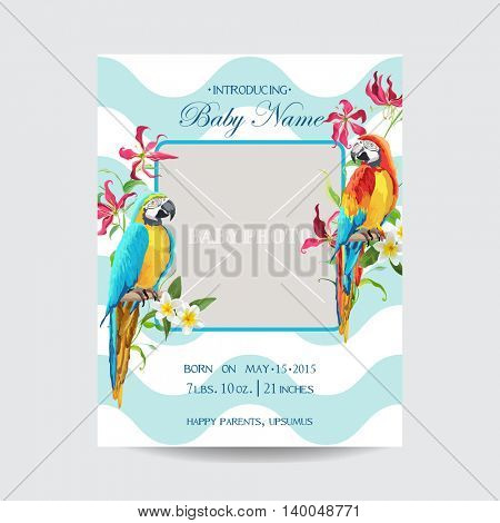 Baby Arrival Card with Photo Frame - Tropical Flowers and Parrot Bird Theme - in vector