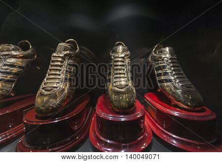 MADRID,SPAIN-MAY 2016: Cristiano Ronaldo Golden Boots prizes at FC Real museum at Santiago Bernabeu stadium