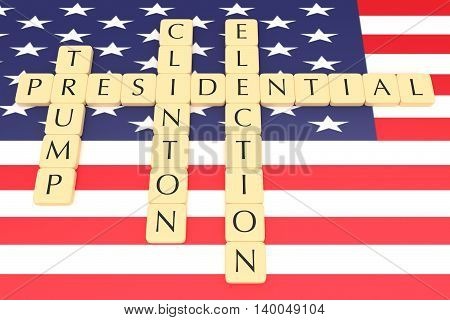 BERLIN GERMANY - JULY 26 2016: US Presidential election 2016: Letter tiles clinton trump with US flag 3d illustration