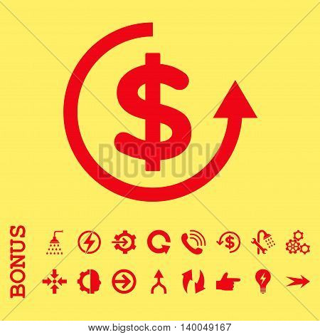 Refund vector icon. Image style is a flat pictogram symbol, red color, yellow background.