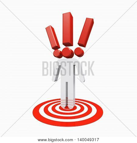 3D illustration of Conceptual exclamation mark human standing on target spot on white background.