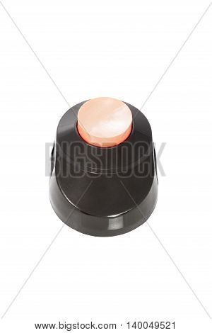 Black door bell with a pink button isolated on white background