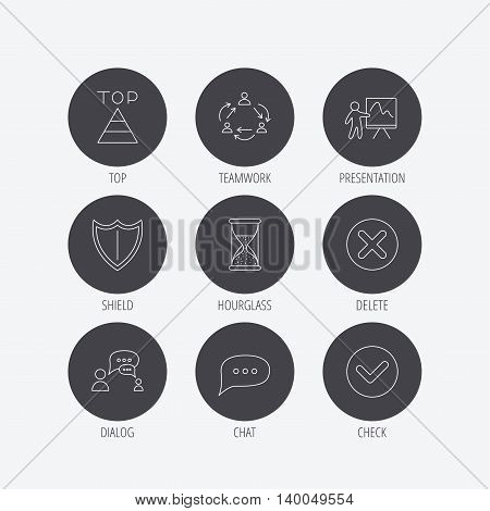 Teamwork, presentation and dialog icons. Chat speech bubble, shield and pyramid linear signs. Check, delete and hourglass flat line icons. Linear icons in circle buttons. Flat web symbols. Vector