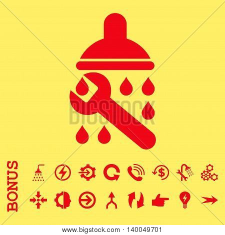 Shower Plumbing vector icon. Image style is a flat pictogram symbol, red color, yellow background.