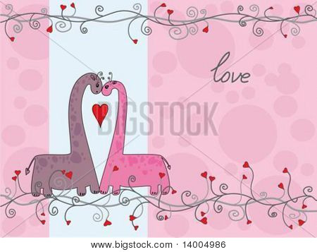 Two colored dinosaurs on pink background
