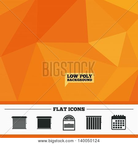 Triangular low poly orange background. Louvers icons. Plisse, rolls, vertical and horizontal. Window blinds or jalousie symbols. Calendar flat icon. Vector