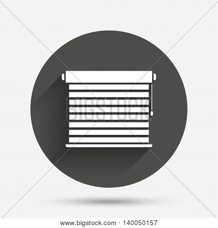Louvers sign icon. Window blinds or jalousie symbol. Circle flat button with shadow. Vector