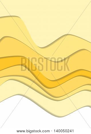 Sand curve wave line background, desert in paper cut style. Cropped with Clipping Mask