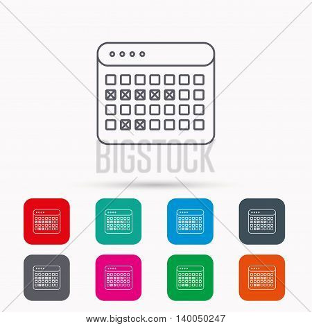 Calendar icon. Vacations organizer sign. Office reminder symbol. Linear icons in squares on white background. Flat web symbols. Vector