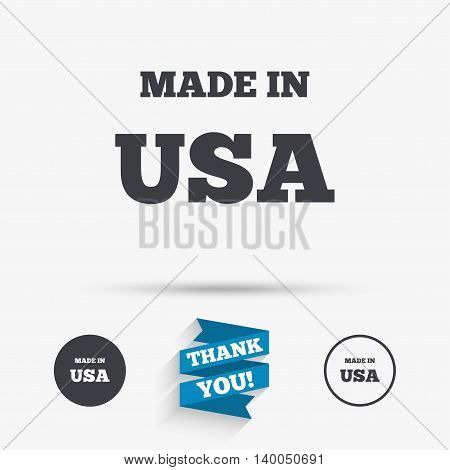 Made in the USA icon. Export production symbol. Product created in America sign. Flat icons. Buttons with icons. Thank you ribbon. Vector