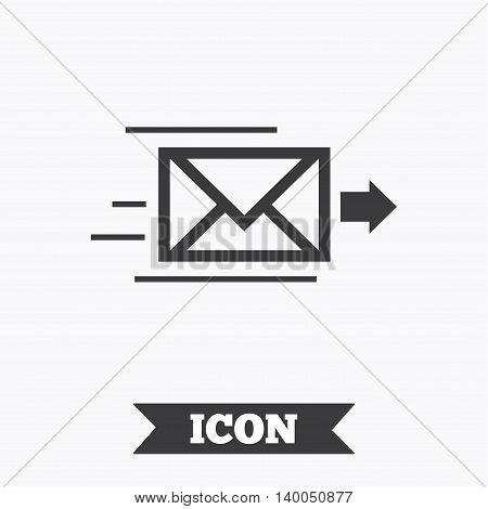 Mail delivery icon. Envelope symbol. Message sign. Mail navigation button. Graphic design element. Flat envelope symbol on white background. Vector