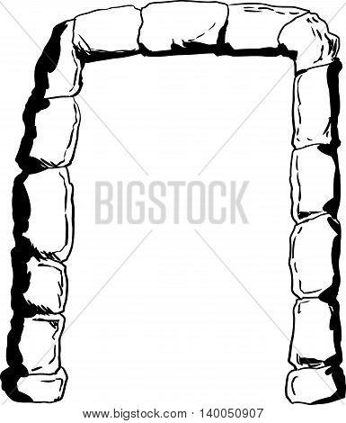 Stone Portal Illustration Outline
