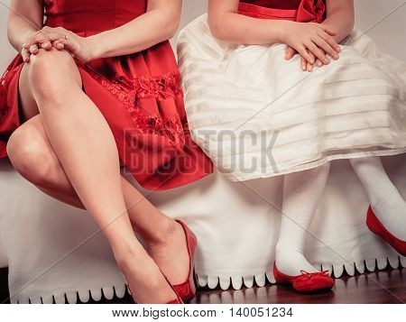 Legs Mother And Daughter In Red Shoes