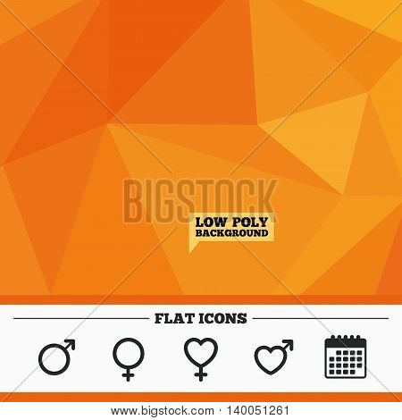 Triangular low poly orange background. Male and female sex icons. Man and Woman signs with hearts symbols. Calendar flat icon. Vector